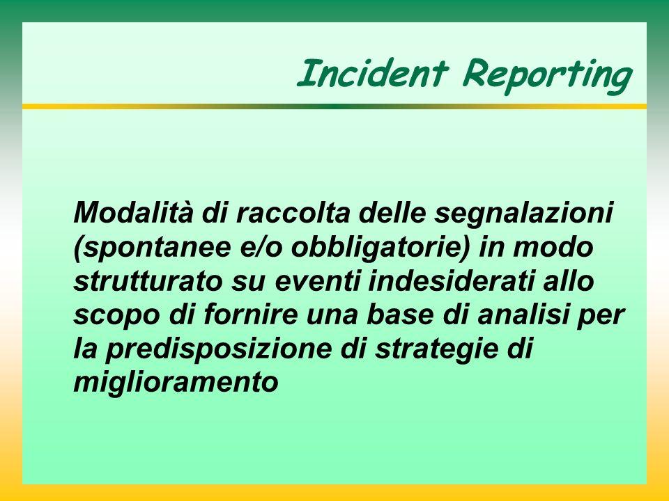 Incident Reporting Modalità di raccolta delle segnalazioni (spontanee e/o obbligatorie) in modo strutturato su eventi indesiderati allo scopo di fornire una base di analisi per la predisposizione di strategie di miglioramento