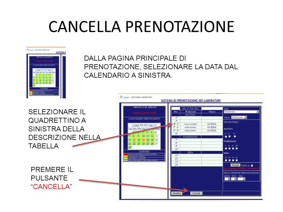 DALLA PAGINA PRINCIPALE DI PRENOTAZIONE, SELEZIONARE LA DATA DAL CALENDARIO A SINISTRA.