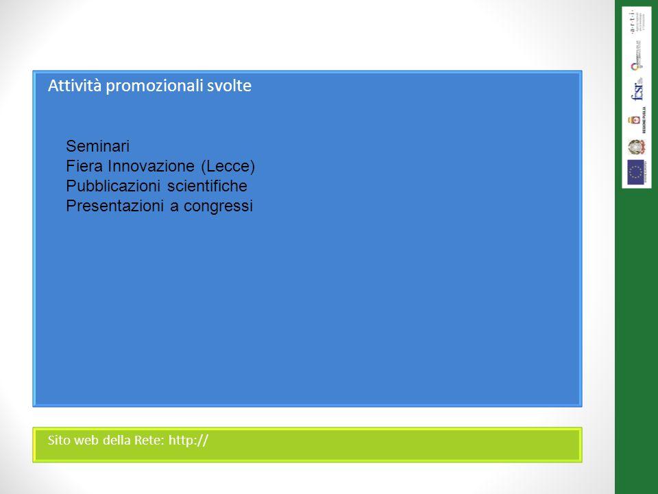 Attività promozionali svolte Sito web della Rete: http:// Seminari Fiera Innovazione (Lecce) Pubblicazioni scientifiche Presentazioni a congressi