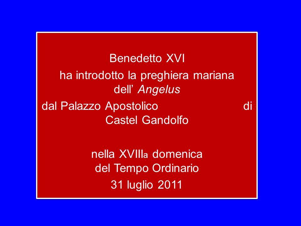 Benedetto XVI ha introdotto la preghiera mariana dell Angelus dal Palazzo Apostolico di Castel Gandolfo nella XVIII a domenica del Tempo Ordinario 31 luglio 2011 Benedetto XVI ha introdotto la preghiera mariana dell Angelus dal Palazzo Apostolico di Castel Gandolfo nella XVIII a domenica del Tempo Ordinario 31 luglio 2011