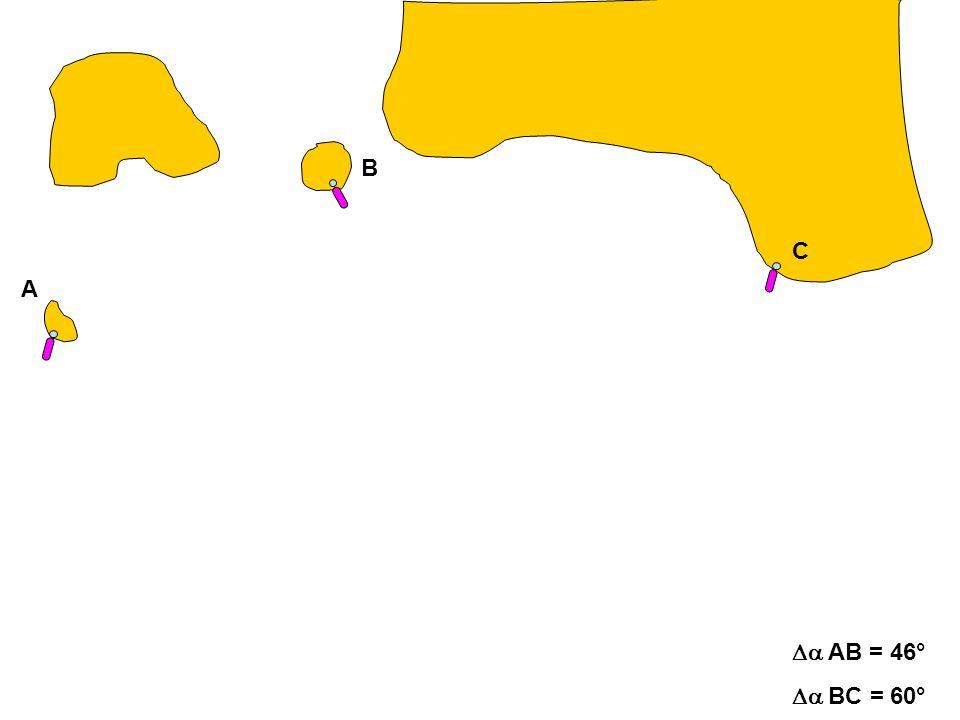 A C B AB = 46° BC = 60°