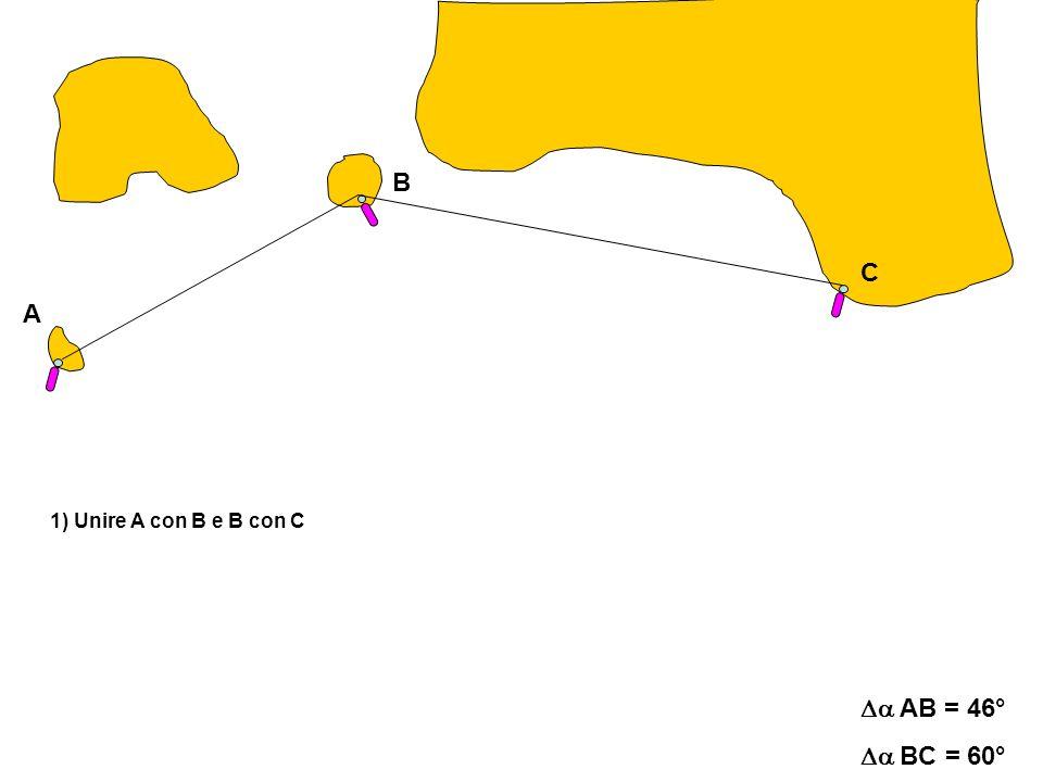A C B AB = 46° BC = 60° 1) Unire A con B e B con C