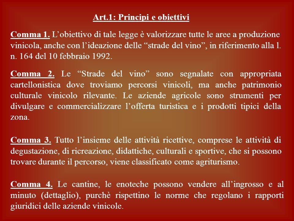 Comma 1. Lobiettivo di tale legge è valorizzare tutte le aree a produzione vinicola, anche con lideazione delle strade del vino, in riferimento alla l