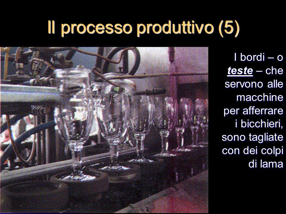 I bordi – o teste – che servono alle macchine per afferrare i bicchieri, sono tagliate con dei colpi di lama Il processo produttivo (5)