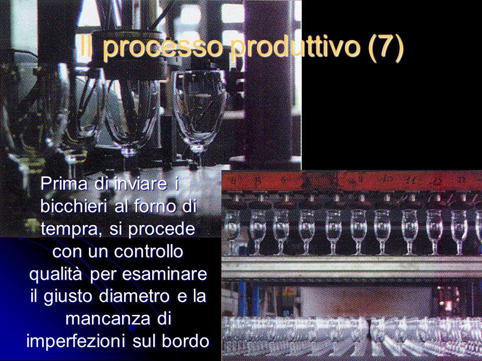 Il processo produttivo (7) Prima di inviare i bicchieri al forno di tempra, si procede con un controllo qualità per esaminare il giusto diametro e la