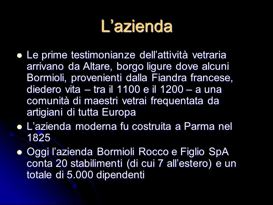 Lazienda Le prime testimonianze dellattività vetraria arrivano da Altare, borgo ligure dove alcuni Bormioli, provenienti dalla Fiandra francese, diede