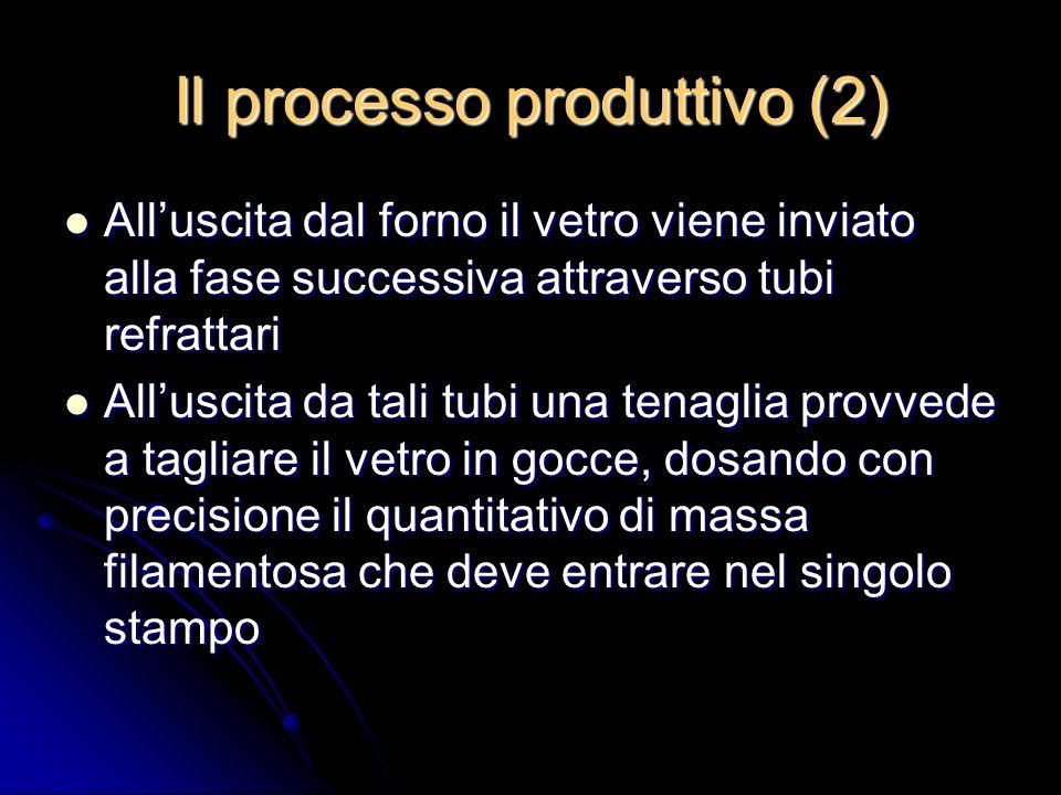 Il processo produttivo (2) Alluscita dal forno il vetro viene inviato alla fase successiva attraverso tubi refrattari Alluscita dal forno il vetro vie