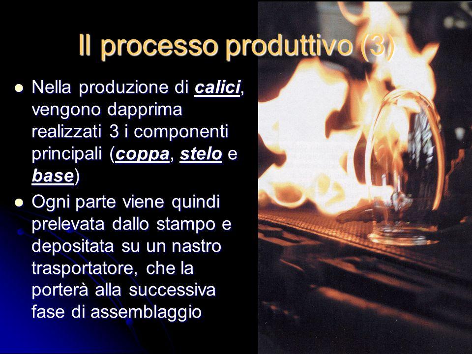Il processo produttivo (3) Nella produzione di calici, vengono dapprima realizzati 3 i componenti principali (coppa, stelo e base) Nella produzione di