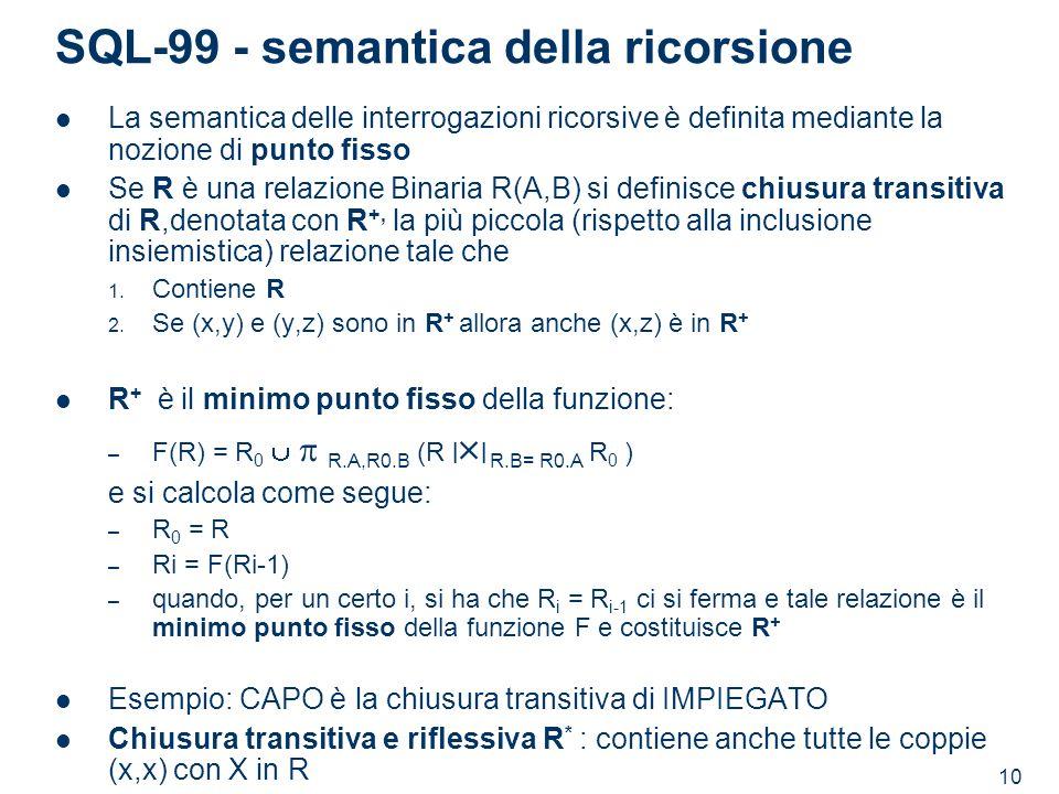 10 SQL-99 - semantica della ricorsione La semantica delle interrogazioni ricorsive è definita mediante la nozione di punto fisso Se R è una relazione