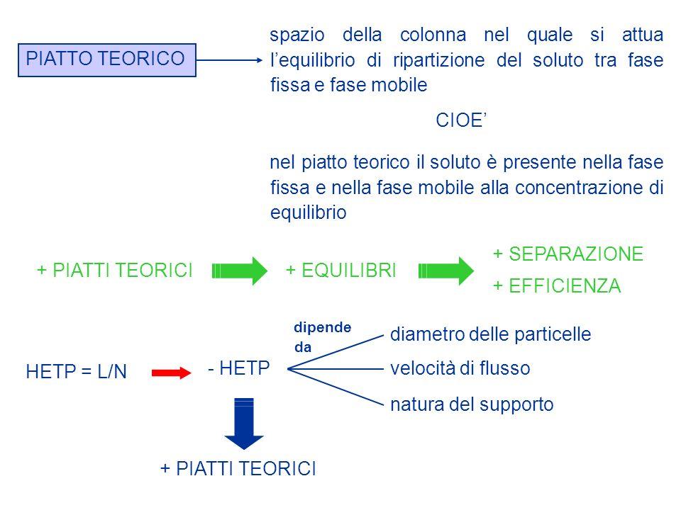 PIATTO TEORICO spazio della colonna nel quale si attua lequilibrio di ripartizione del soluto tra fase fissa e fase mobile nel piatto teorico il solut
