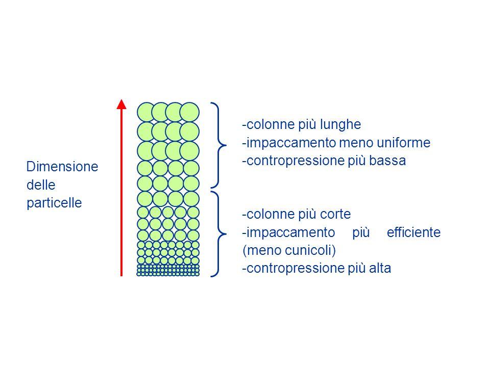 Dimensione delle particelle -colonne più lunghe -impaccamento meno uniforme -contropressione più bassa -colonne più corte -impaccamento più efficiente