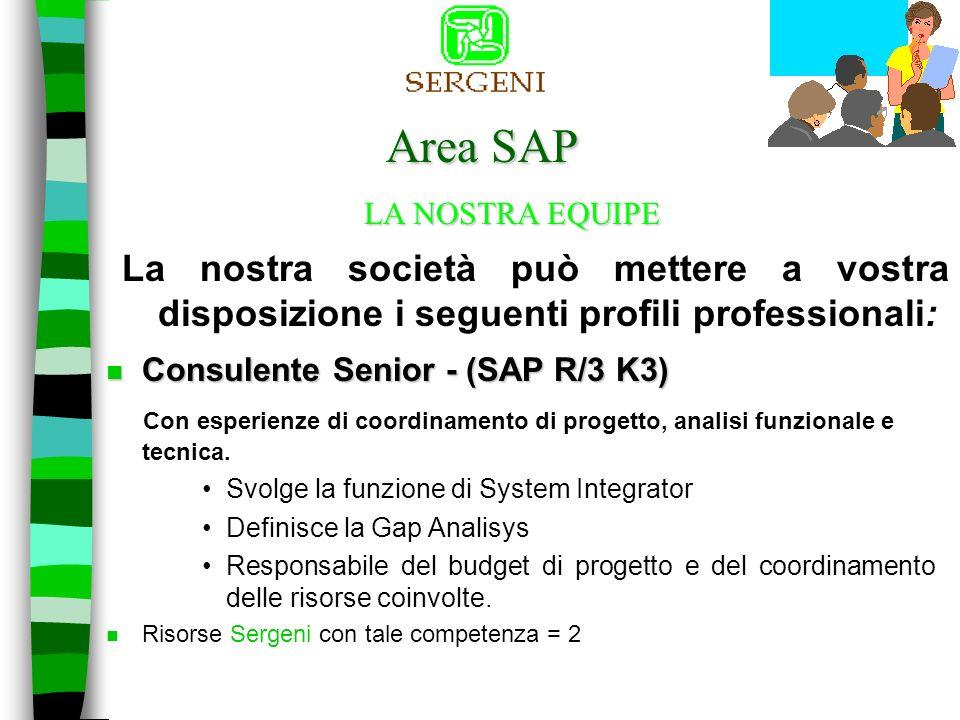 A rea SAP n SERGENI e presente nellarea SAP, da circa 3 anni, con una divisione specializzata, composta da 45 collaboratori.