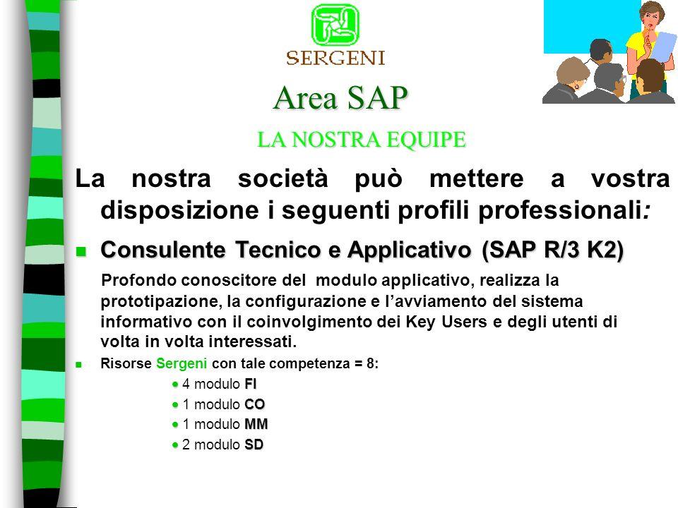 Area SAP La nostra società può mettere a vostra disposizione i seguenti profili professionali: LA NOSTRA EQUIPE n Consulente Senior - (SAP R/3 K3) Con esperienze di coordinamento di progetto, analisi funzionale e tecnica.