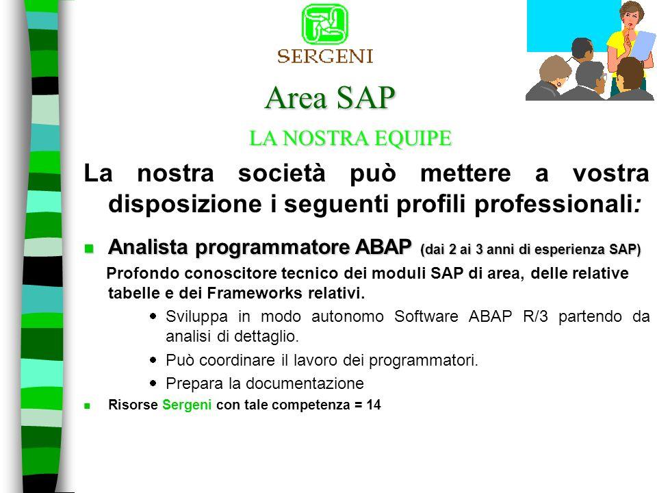 Area SAP La nostra società può mettere a vostra disposizione i seguenti profili professionali: LA NOSTRA EQUIPE Procede alla stesura delle specifiche tecniche di conversione, di interfacce, di reportistica e personalizzazioni varie.