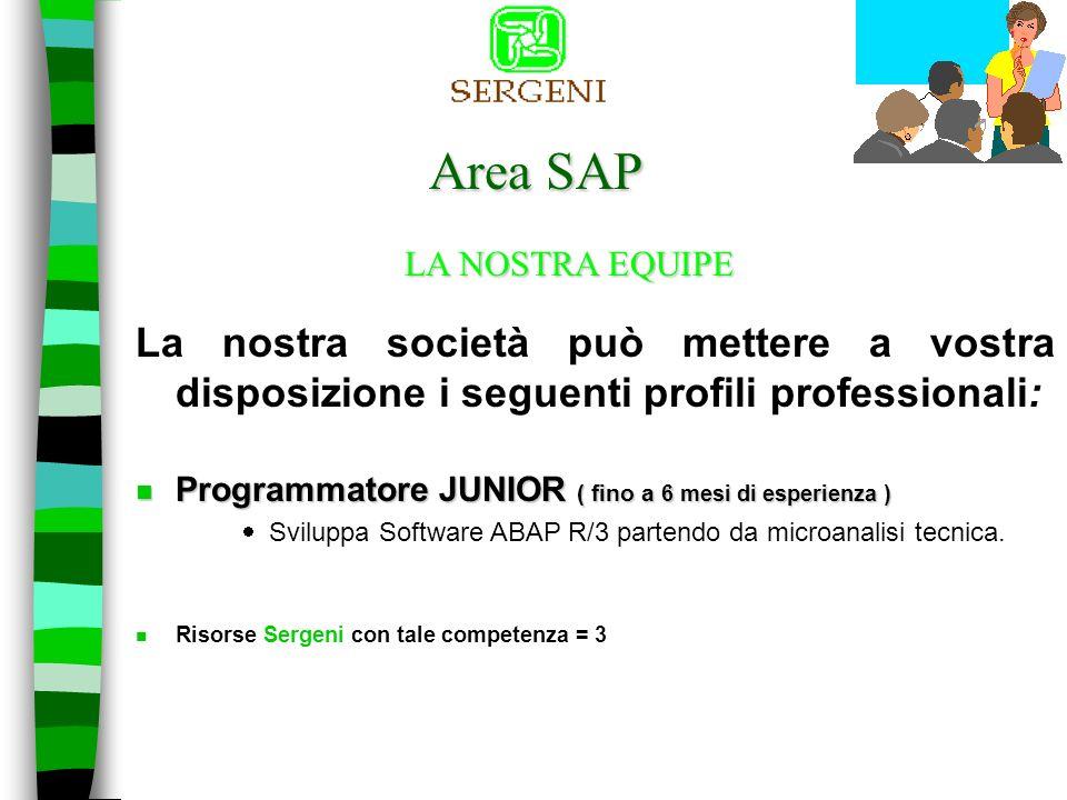 Area SAP La nostra società può mettere a vostra disposizione i seguenti profili professionali: LA NOSTRA EQUIPE n Programmatore ABAP ( dai 6 mesi ai 2 anni di esperienza SAP) Sviluppa Software ABAP R/3 partendo da analisi tecnica.
