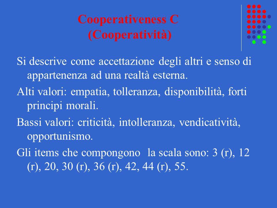Cooperativeness C (Cooperatività) Si descrive come accettazione degli altri e senso di appartenenza ad una realtà esterna. Alti valori: empatia, tolle