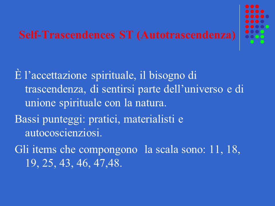 Self-Trascendences ST (Autotrascendenza) È laccettazione spirituale, il bisogno di trascendenza, di sentirsi parte delluniverso e di unione spirituale