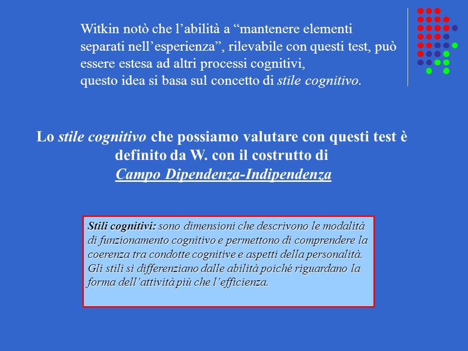 Witkin notò che labilità a mantenere elementi separati nellesperienza, rilevabile con questi test, può essere estesa ad altri processi cognitivi, ques