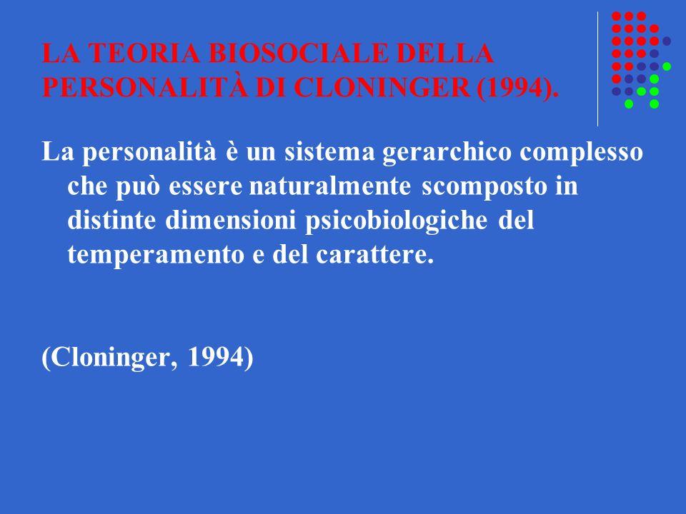 LA TEORIA BIOSOCIALE DELLA PERSONALITÀ DI CLONINGER (1994). La personalità è un sistema gerarchico complesso che può essere naturalmente scomposto in