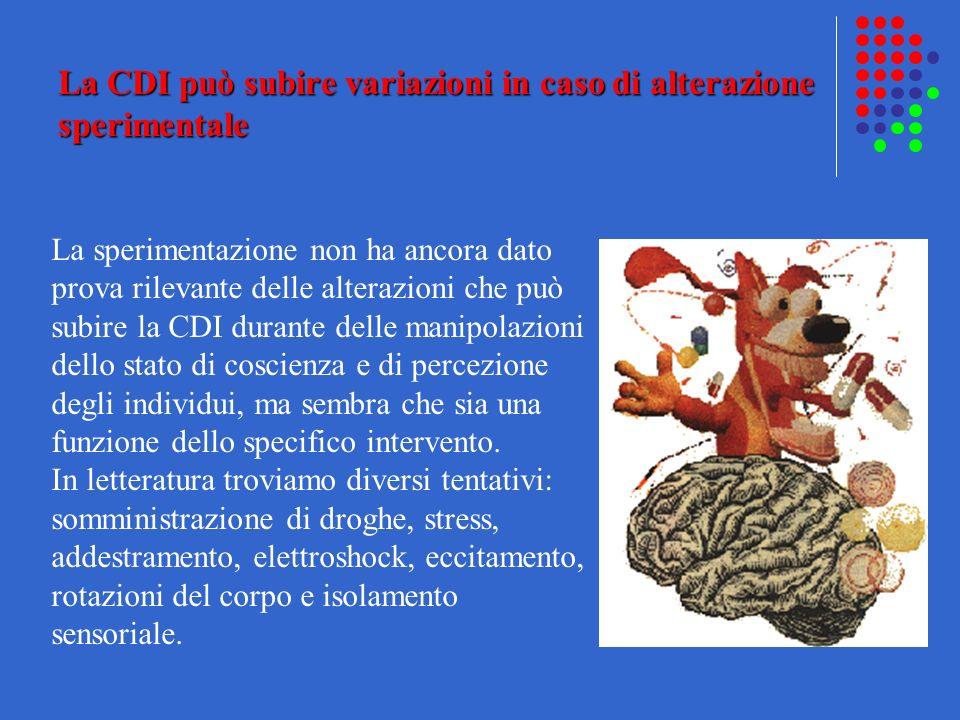 La CDI può subire variazioni in caso di alterazione sperimentale La sperimentazione non ha ancora dato prova rilevante delle alterazioni che può subir