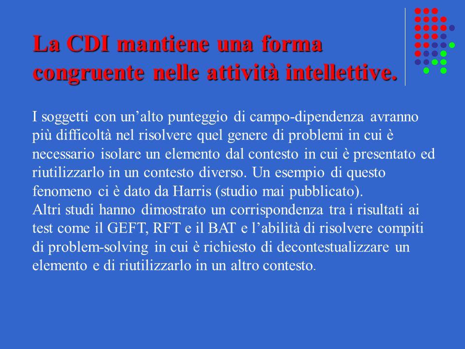 La CDI mantiene una forma congruente nelle attività intellettive. I soggetti con unalto punteggio di campo-dipendenza avranno più difficoltà nel risol