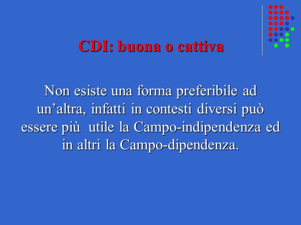 CDI: buona o cattiva Non esiste una forma preferibile ad unaltra, infatti in contesti diversi può essere più utile la Campo-indipendenza ed in altri l