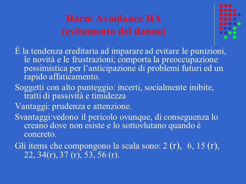 Harm Avoidance HA (evitamento del danno) È la tendenza ereditaria ad imparare ad evitare le punizioni, le novità e le frustrazioni; comporta la preocc