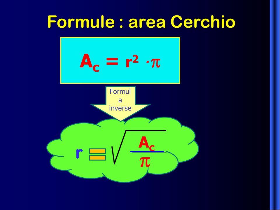 Formule : area Cerchio A c = r 2 Formul a inverse AcAc r