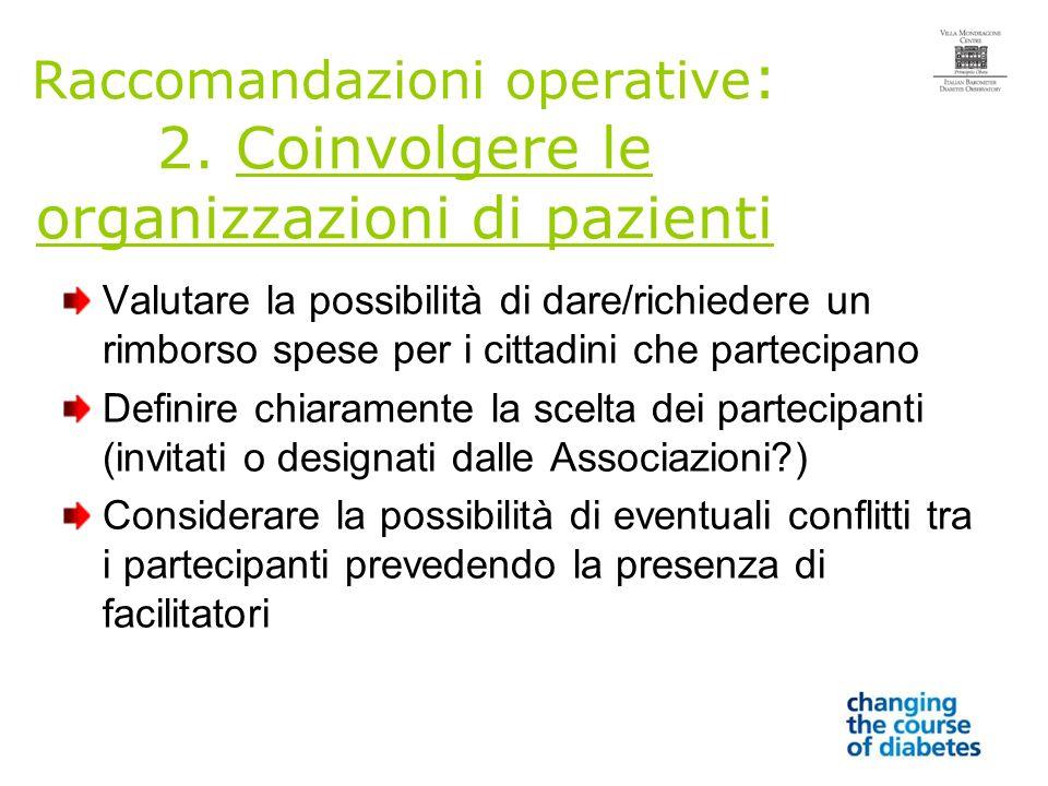 Raccomandazioni operative : 2.