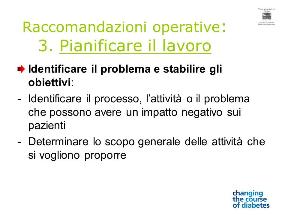 Raccomandazioni operative : 3.