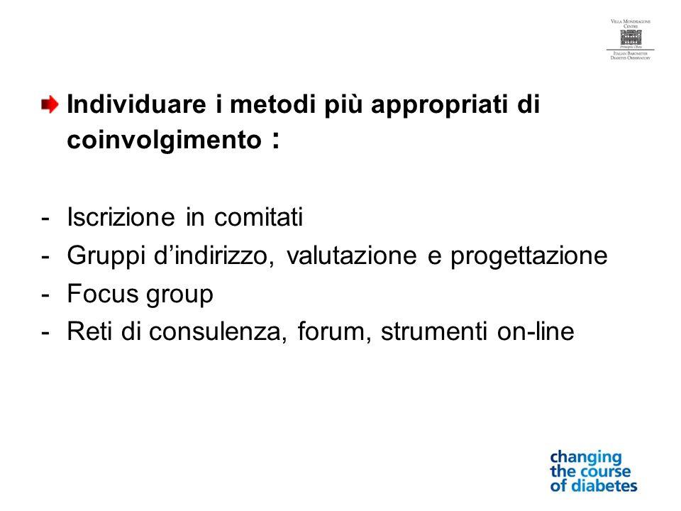 Individuare i metodi più appropriati di coinvolgimento : -Iscrizione in comitati -Gruppi dindirizzo, valutazione e progettazione -Focus group -Reti di consulenza, forum, strumenti on-line