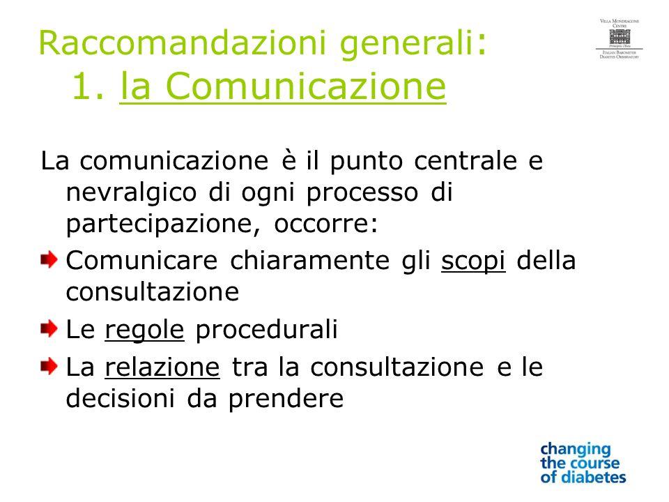 Raccomandazioni generali : 1.