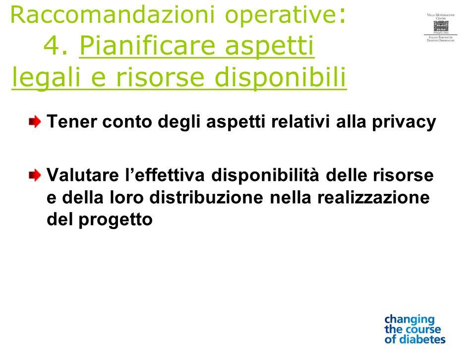 Raccomandazioni operative : 4.