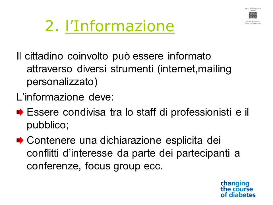 2. lInformazione Il cittadino coinvolto può essere informato attraverso diversi strumenti (internet,mailing personalizzato) Linformazione deve: Essere
