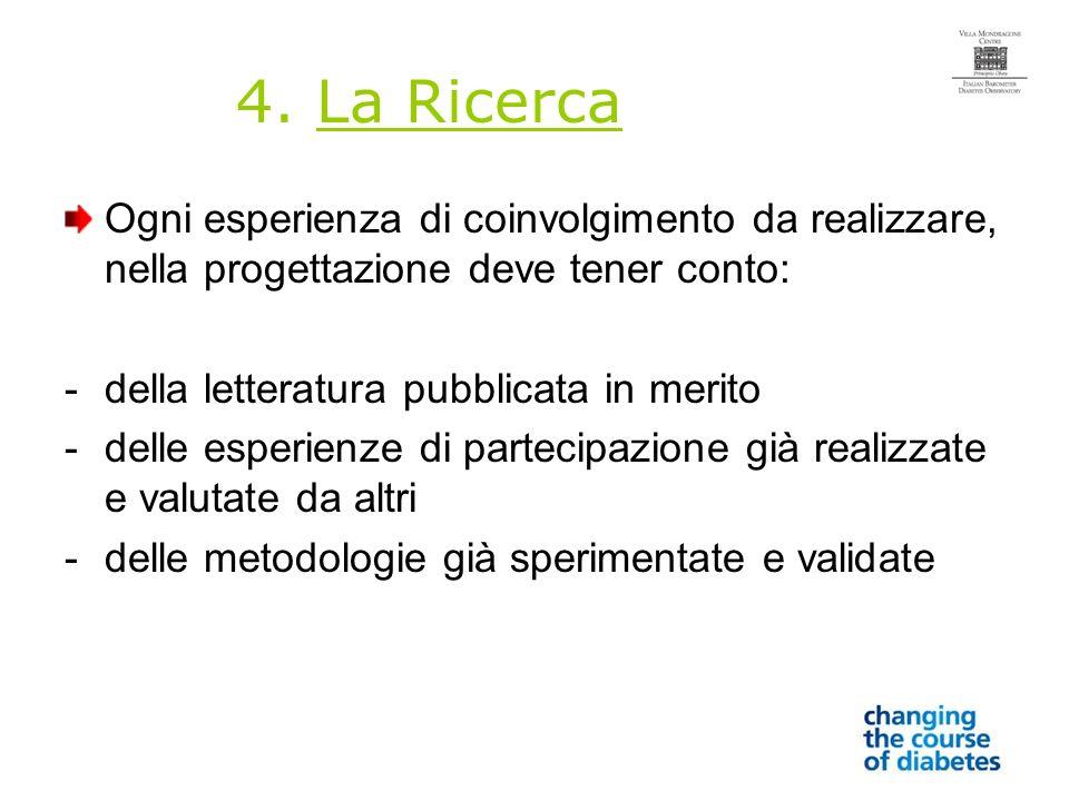 4. La Ricerca Ogni esperienza di coinvolgimento da realizzare, nella progettazione deve tener conto: -della letteratura pubblicata in merito -delle es