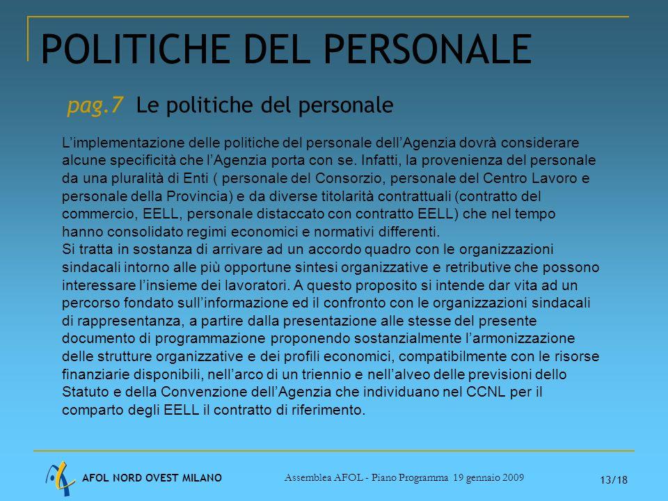 AFOL NORD OVEST MILANO Assemblea AFOL - Piano Programma 19 gennaio 2009 13/18 POLITICHE DEL PERSONALE Limplementazione delle politiche del personale dellAgenzia dovrà considerare alcune specificità che lAgenzia porta con se.