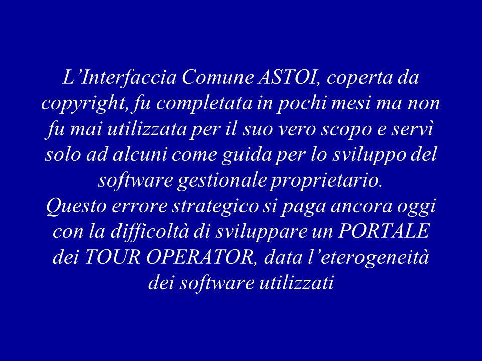 LInterfaccia Comune ASTOI, coperta da copyright, fu completata in pochi mesi ma non fu mai utilizzata per il suo vero scopo e servì solo ad alcuni come guida per lo sviluppo del software gestionale proprietario.