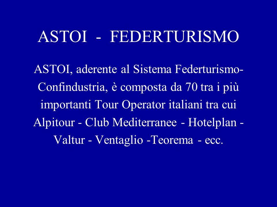 ASTOI - FEDERTURISMO ASTOI, aderente al Sistema Federturismo- Confindustria, è composta da 70 tra i più importanti Tour Operator italiani tra cui Alpitour - Club Mediterranee - Hotelplan - Valtur - Ventaglio -Teorema - ecc.