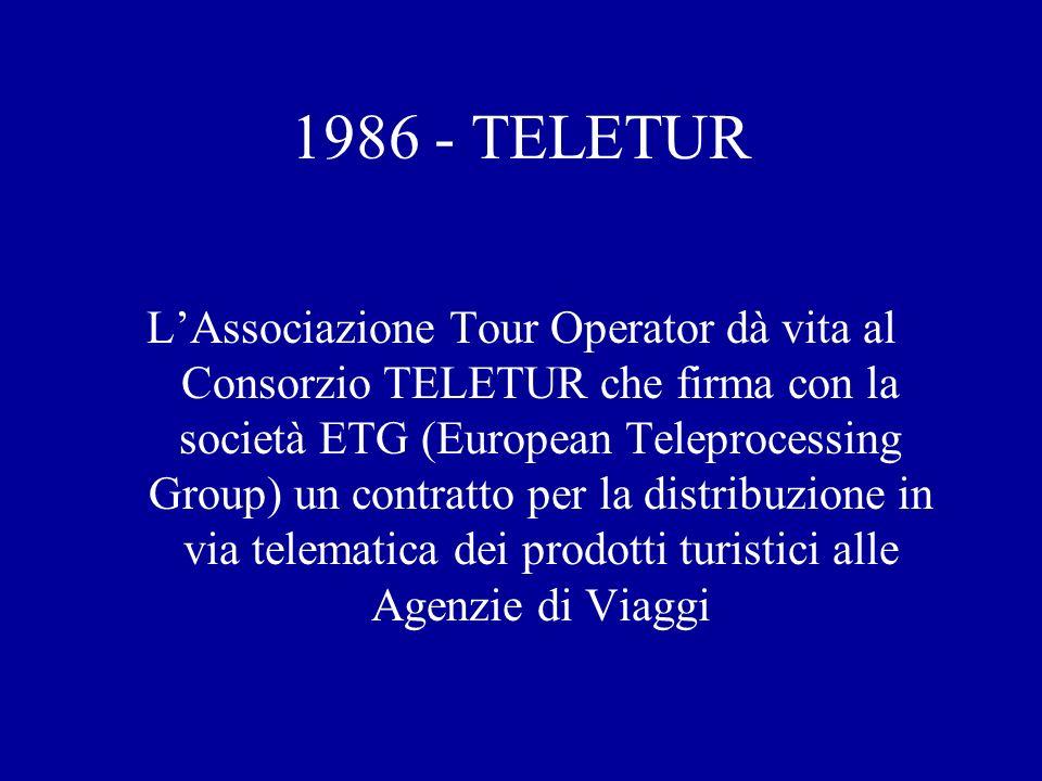 1986 - TELETUR LAssociazione Tour Operator dà vita al Consorzio TELETUR che firma con la società ETG (European Teleprocessing Group) un contratto per la distribuzione in via telematica dei prodotti turistici alle Agenzie di Viaggi