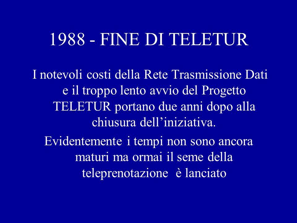 1988 - FINE DI TELETUR I notevoli costi della Rete Trasmissione Dati e il troppo lento avvio del Progetto TELETUR portano due anni dopo alla chiusura delliniziativa.