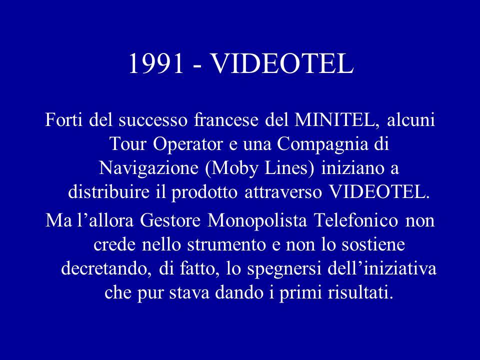 1991 - VIDEOTEL Forti del successo francese del MINITEL, alcuni Tour Operator e una Compagnia di Navigazione (Moby Lines) iniziano a distribuire il prodotto attraverso VIDEOTEL.