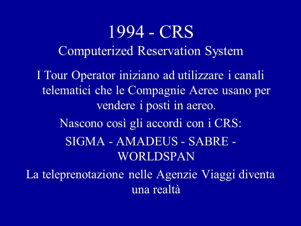 1994 - CRS Computerized Reservation System I Tour Operator iniziano ad utilizzare i canali telematici che le Compagnie Aeree usano per vendere i posti in aereo.