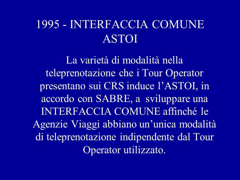 1995 - INTERFACCIA COMUNE ASTOI La varietà di modalità nella teleprenotazione che i Tour Operator presentano sui CRS induce lASTOI, in accordo con SABRE, a sviluppare una INTERFACCIA COMUNE affinché le Agenzie Viaggi abbiano ununica modalità di teleprenotazione indipendente dal Tour Operator utilizzato.