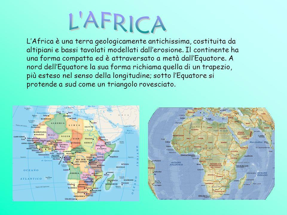 LAfrica è una terra geologicamente antichissima, costituita da altipiani e bassi tavolati modellati dallerosione. Il continente ha una forma compatta