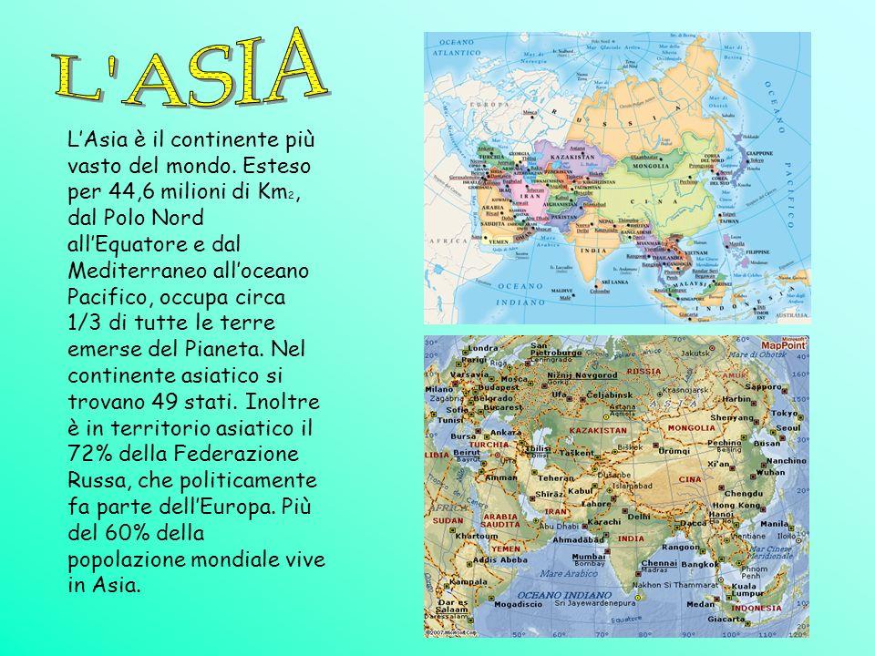 LAsia è il continente più vasto del mondo. Esteso per 44,6 milioni di Km 2, dal Polo Nord allEquatore e dal Mediterraneo alloceano Pacifico, occupa ci