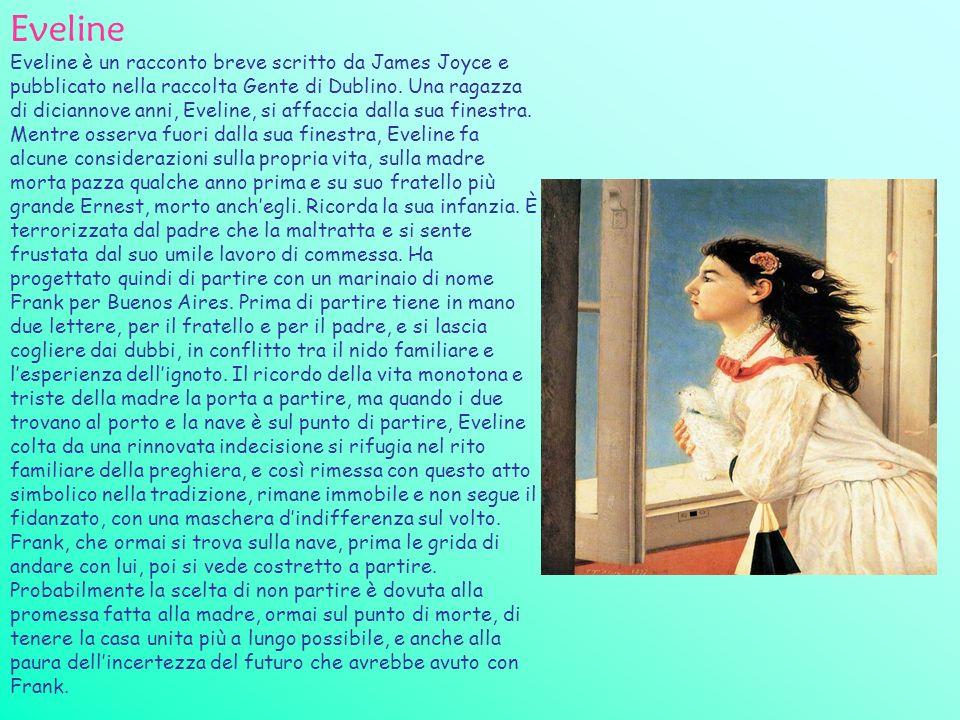 Eveline Eveline è un racconto breve scritto da James Joyce e pubblicato nella raccolta Gente di Dublino. Una ragazza di diciannove anni, Eveline, si a