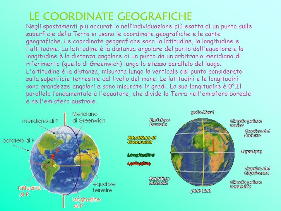 LE COORDINATE GEOGRAFICHE Negli spostamenti più accurati o nellindividuazione più esatta di un punto sulle superficie della Terra si usano le coordina