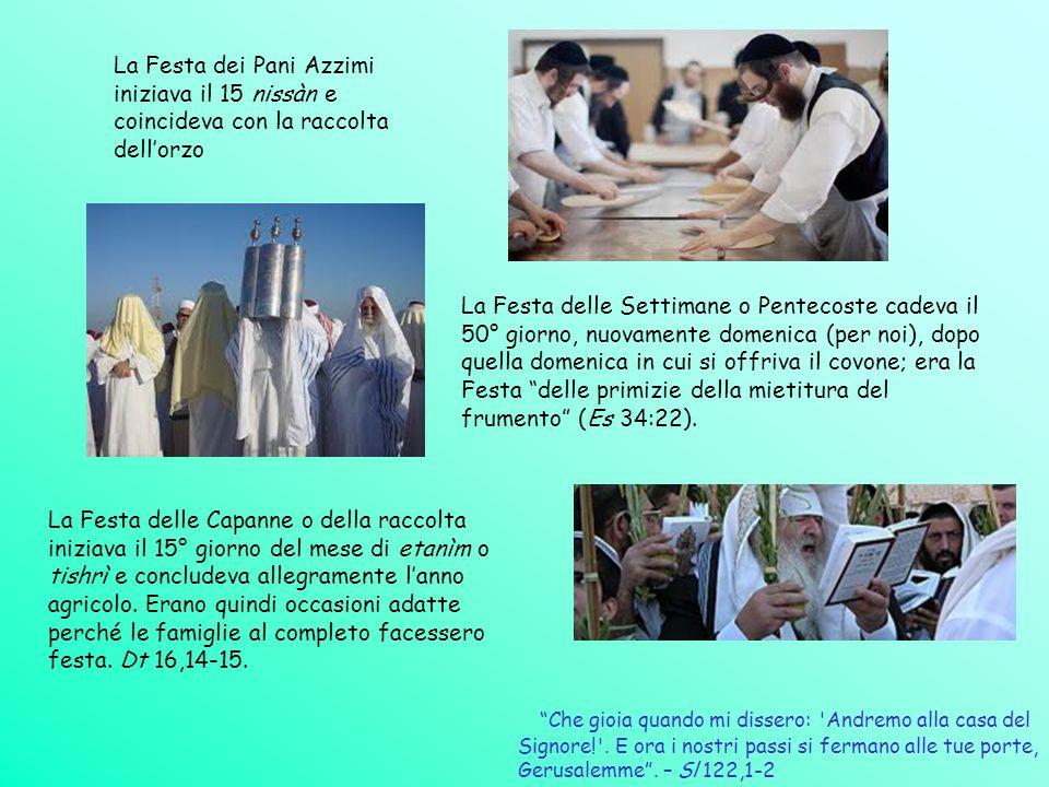 La Festa dei Pani Azzimi iniziava il 15 nissàn e coincideva con la raccolta dellorzo La Festa delle Settimane o Pentecoste cadeva il 50° giorno, nuova