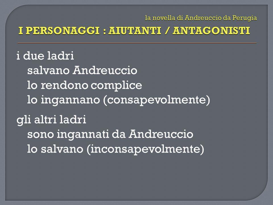 i due ladri salvano Andreuccio lo rendono complice lo ingannano (consapevolmente) gli altri ladri sono ingannati da Andreuccio lo salvano (inconsapevolmente)