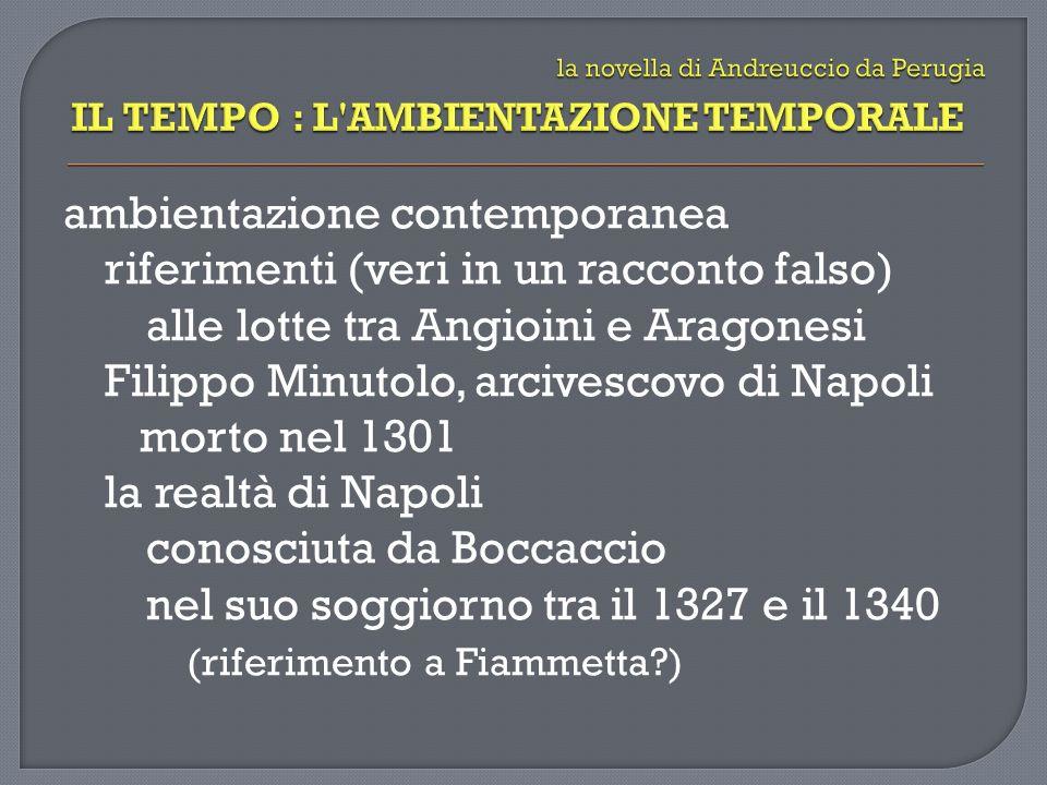 ambientazione contemporanea riferimenti (veri in un racconto falso) alle lotte tra Angioini e Aragonesi Filippo Minutolo, arcivescovo di Napoli morto nel 1301 la realtà di Napoli conosciuta da Boccaccio nel suo soggiorno tra il 1327 e il 1340 (riferimento a Fiammetta?)